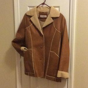 Jones New York Sport leather Sherpa lined jacket